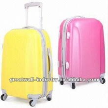 Luggage Set with Aluminum 2-tube Trolley Systems and 4 Wheels, Made of ABS/PC Film Shiny Finish