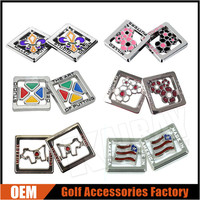 Custom Square Metal Unique Golf Ball Markers, USA Flag/Dollar Ball Markers