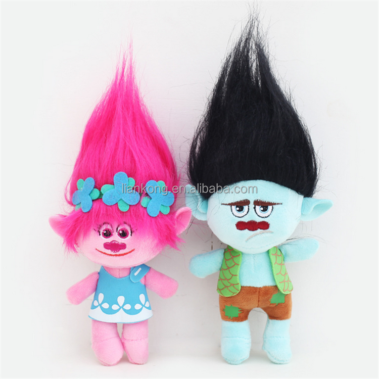 wholesale good quality movie characters Cartoon plush wig trolls stuffed toy