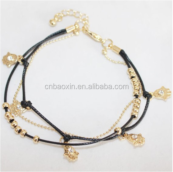 Fashion Wax And Link Chain Muti-layer Bracelet Gold Hands Charms