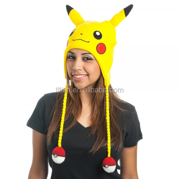 Winter warm lovey adult knit animal pikachu hat