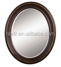 Dark brown wood frame modern mirror