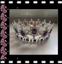 "hair accessories wholesale fashion crystal ab with purple 4"" tall 7"" diameter full round large pageant crowns"