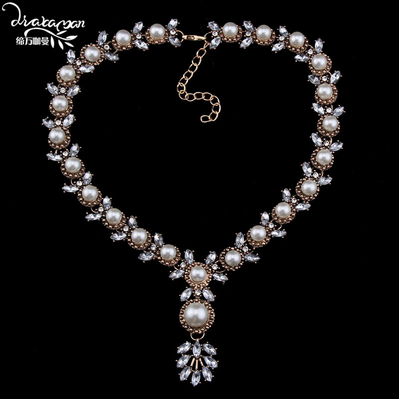 Dvacaman Brand 2017 Simualted Pearl Party Dress Statement Necklace Women Cheap High Quality Crystal Pendant Necklace Jewelry M6