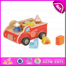 2015 Kids Wooden Mini car toy with blocks,Multifunctional Children Wooden car toy,Cartoon wooden car toy with baby blocs W12D023