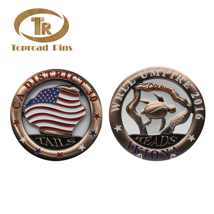 Factory Wholesale OEM ODM Metal Coin Custom Logo Double Sides Antique Two Sides Challenge Coin