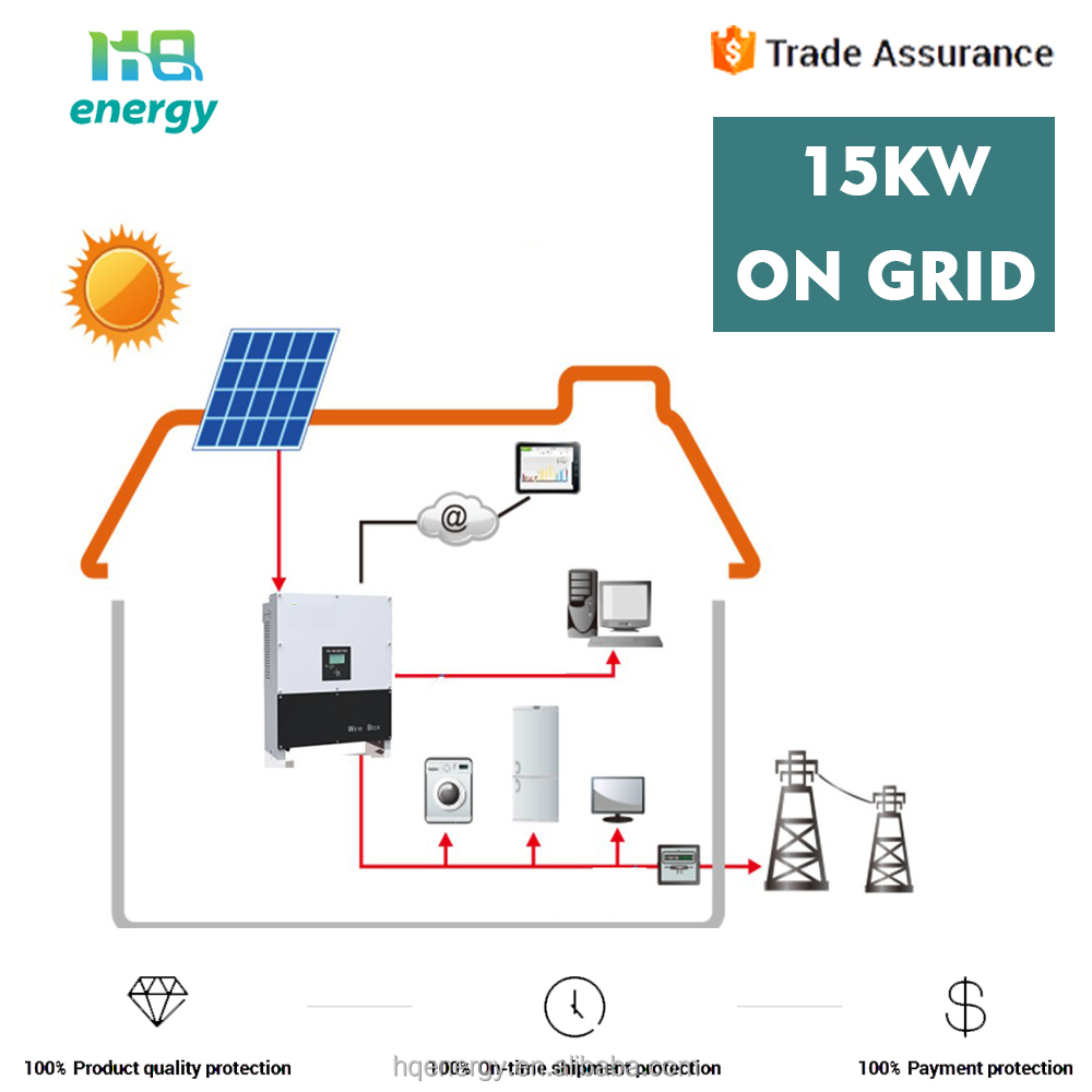 15kw solar system on grid for home large distributed power generation system
