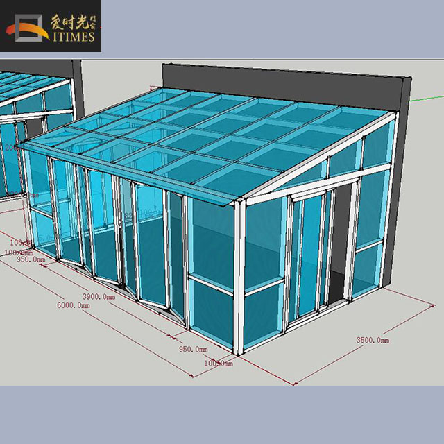 Aluminum slant commercial sunroom glass house