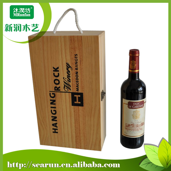 Portable 2 bottle Pine wood wine box in china