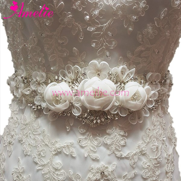 Vintage And Handmade Beading Flower with Rhinestone Applique Wedding Belts