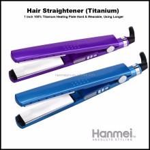 LCD ceramic nano titanium steam hair straightener