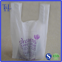 Daily using packaging food for grocery and suppermarket plastic t shirt shopping bag