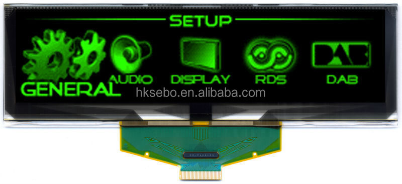 5.5inch small Green 256 * 64 resolution OLED lcd panel for industrial products