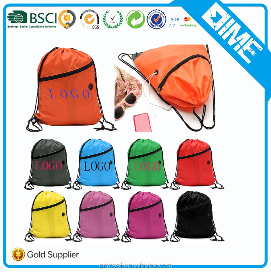 Sublimation Printing Foldable Mesh Drawstring Backpack With Zipper Pocket