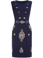 Work Dresses Boutique fashion women christmas latest design Navy Crew Neck Embroidered Sheath Dress