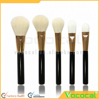 5 Pcs Wood Handle Wool-like Hair Round Head Face Makeup Cosmetic Brush Set Gold Black