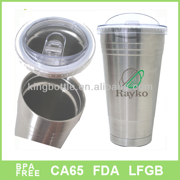 18/8 stainless steel matt finish stock feature coffee tumbler with straw