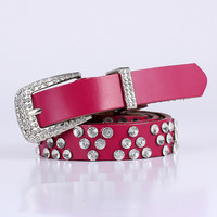 Wholesale Business High Quality Genuine Leather with Rhinestones Female Blet for Women