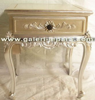 Silver French Louis Nightstand - Bedside Table Furniture - Indonesia Furniture