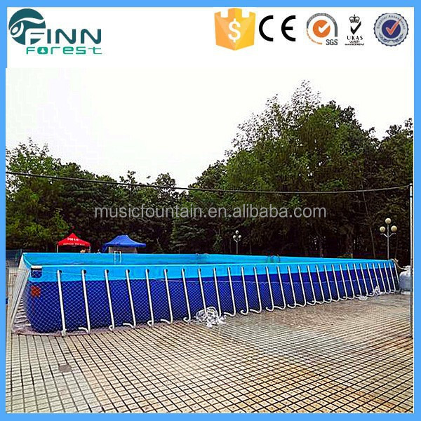 Durable Large Plastic Metal Frame Rectangular Above Ground Swimming Pool