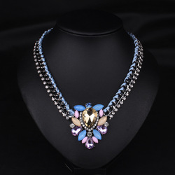 Yanjing wholesale Korea fancy rhinestone necklace for ladies colorful bead necklace