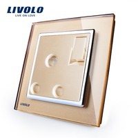 Livolo Manufacturer, New Arrival,1 Gang 1Way Push Button Wall Switch With 15A Socket ,Golden Crystal Glass Panel, VL-W2Z1UK2-13