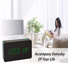 Home Desk Digital LED Stand Table Wooden Alarm Clock for Hotel with Temperature