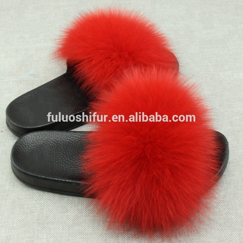 Wholesale all seasons slippers pom pom <strong>slides</strong> soft comfortable fur <strong>slides</strong>