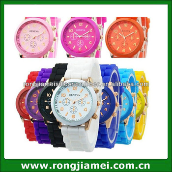 Professional fashion unisex silicone geneva watch