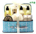 Bath spa gift set with skin care shower gel and bubble bath body lotion and bath bomb