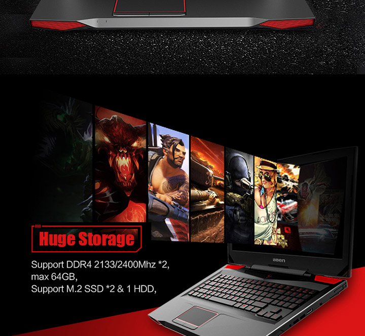 17.3 inch i7-7700HQ 16gb ram 256gb ssd 1TB HDD gaming laptop with mechanical keyboard
