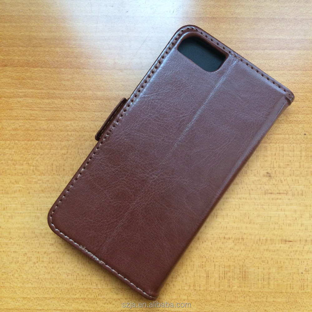 Brown classy pu leather flip cover with detachable back case for iphone 7 / 7 plus
