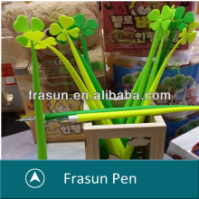 Creative Four Leaf Clover Green Slim Promotional Flower Silicone pen