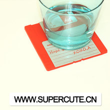 Low price High quality Silicone pink Floppy disk cup coaster