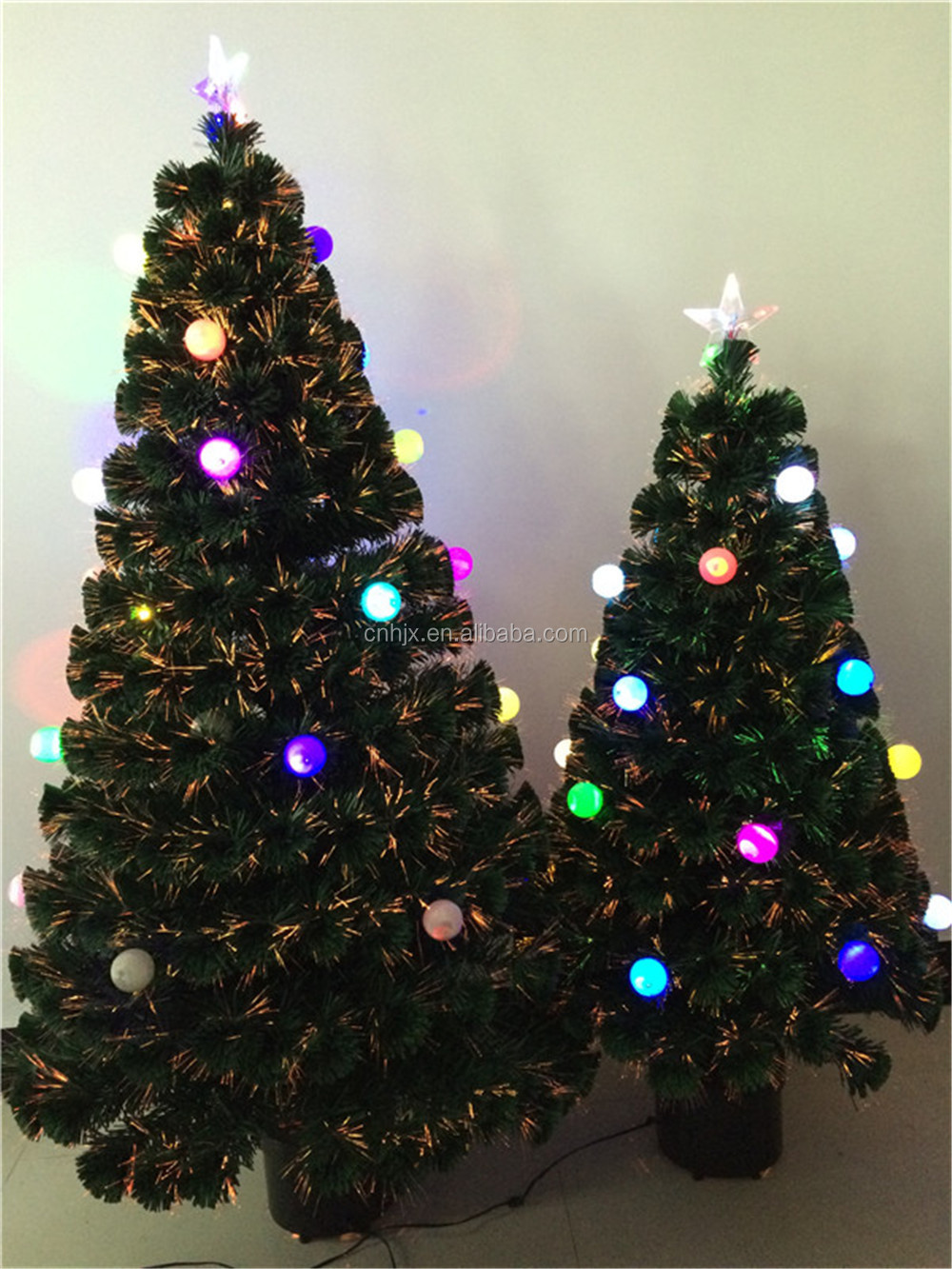 Small CBRL Fiber Optic Artificial Christmas Tree With Color Changing Ball