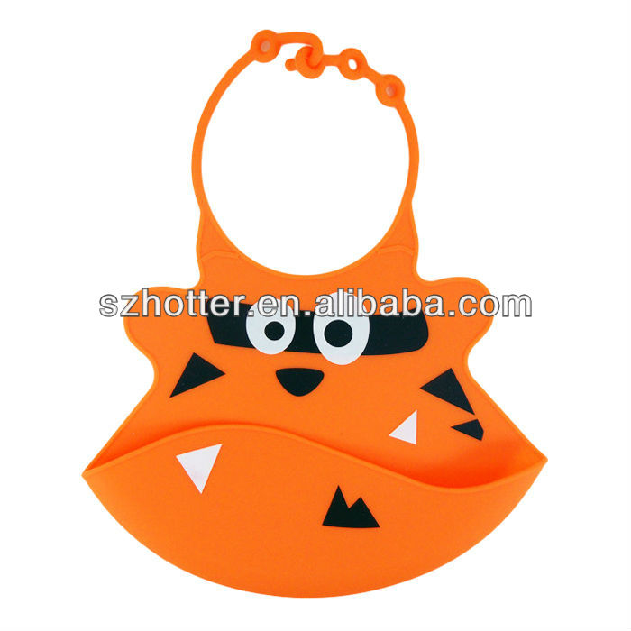 Animal shape printed silicone rubber baby bib