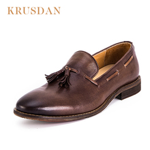 2018 Latest design handmade man tassel slip on dress leather loafer shoes