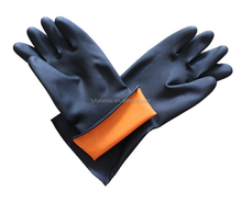 Black industrial chemical resistant rubber gloves
