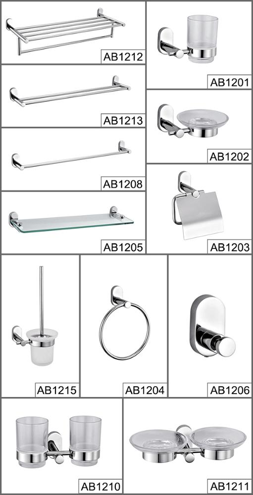 Top quality stainless steel hotel / home bathroom accessory set