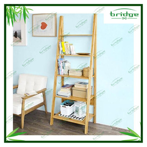 Bamboo 5 Tiers Ladder Bookcase book shelf