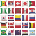 "Throw Pillow Case 2018 World Cup Russia National Flag Cotton Linen Cushion Pillow Cover 18""x18"""