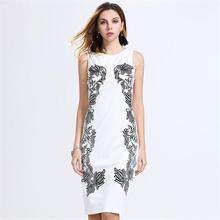 Summer garment casual shift mini knee-length white and black sleeveless bodies neckline rajasthani dress for women