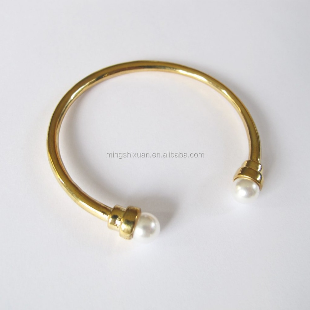 Christmas Collection - MSX Jewelry Stainless Steel Double Pearl End Open Bangle Cuff