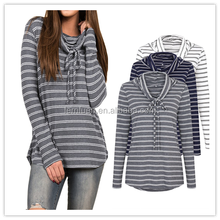 2018 New Women burst hot selling long sleeved drawstring striped printed casual T-shirt women knitted white gray blue tops