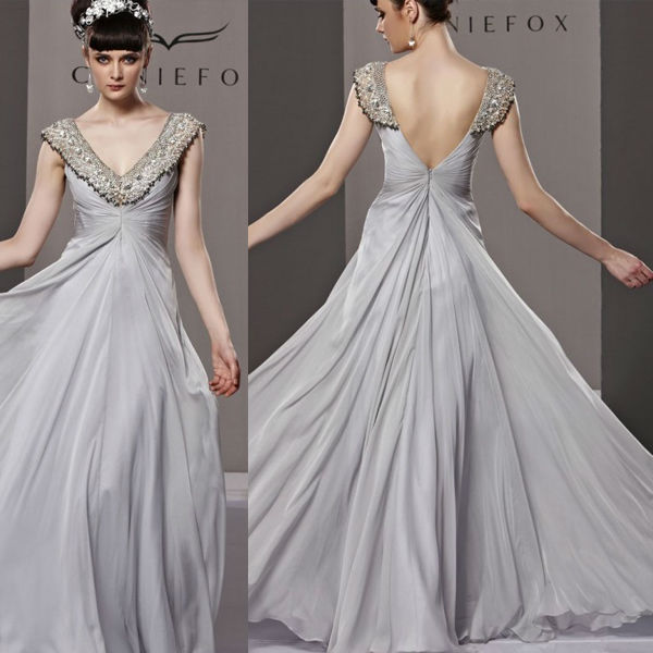 HE0383 V neck deep V back cap sleeve gathered bust floor length gossamer grey chiffon customize gold sequin evening v neck dress