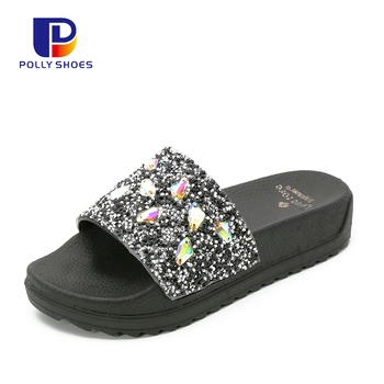 Fashion Pearl Flat Mules Sandals Summer Ladies Fancy Slipper