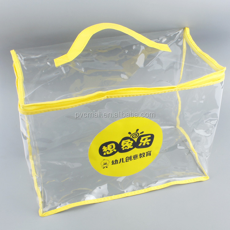 clear vinyl pvc children toys zipper packaging bag with trim edge and handle