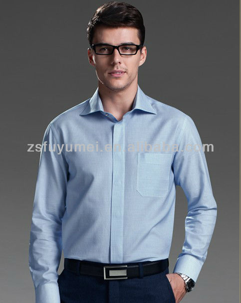 FYM High Quality Hot Sales 100 thread count long sleeve blue stripes mens hirts