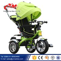 Wholesale Three wheels kids trike with canopy / 4 in 1 children baby tricycle with trailer / cheap children metal frame tricycle