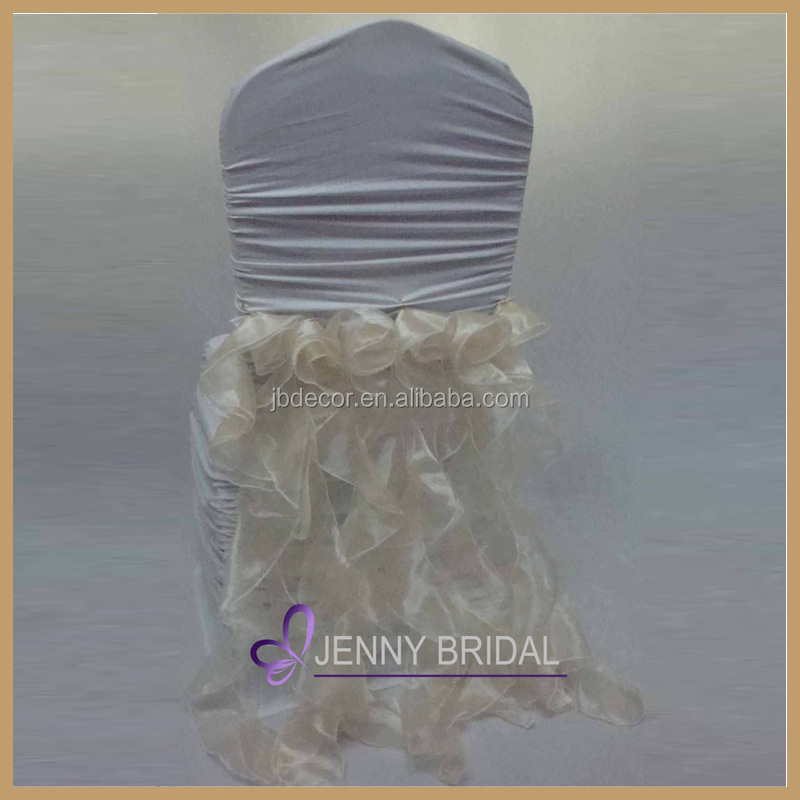 C016B tie back organza yellow ribbon ivory banquet chair cover